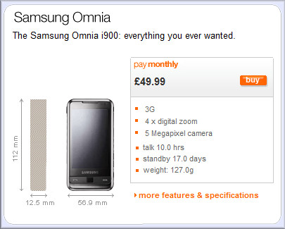 Samsung Omnia now available direct from Orange UK 7