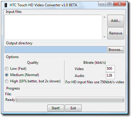 HTC Touch HD video encoding tool 6