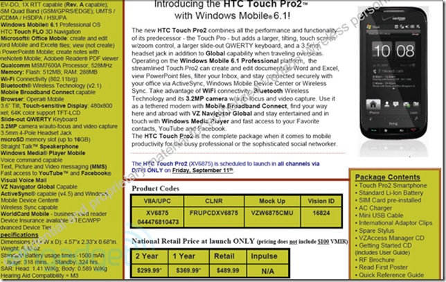 verizon htc touch pro 2 confirmed sept 11th 199 mspoweruser rh mspoweruser com Touch Pro 2 Review Touch Pro 2 Android
