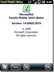 Excel Mobile About