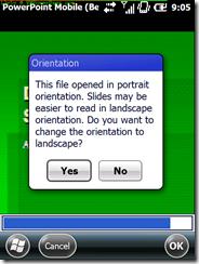 PowerPoint Orientation warning