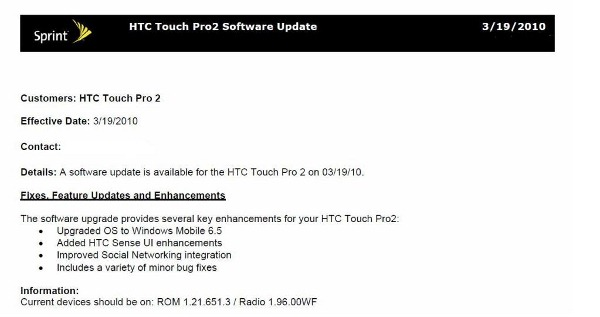 Sprint HTC Touch Pro 2 Windows Mobile 6.5 update coming March 19th 6