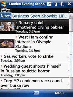 London Evening Standard on Windows Mobile