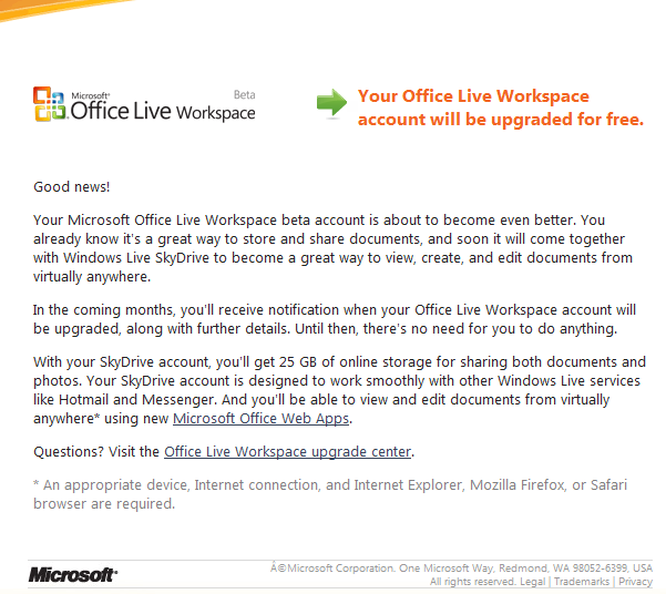Office Live Workspace and Skydrive merging