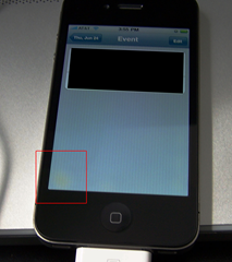 The iPhone 4 has a yellow splotch problem.