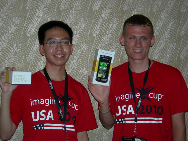 Imagination cup winners receiving Windows phone 7 developer devices.