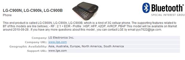 lgc900bluetoothSIG