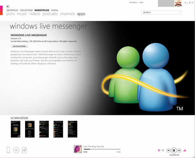 Windows Live Messenger for Zune HD now available