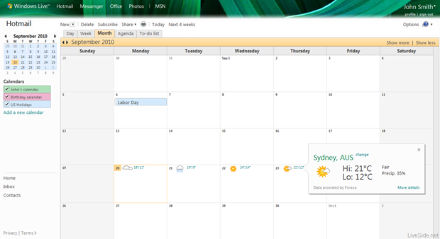 Windows Live Calendar gets updates.