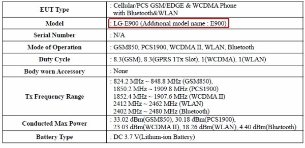 LG E900 passes through FCC, heading for AT&T