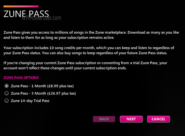 Zune Pass UK fees revealed