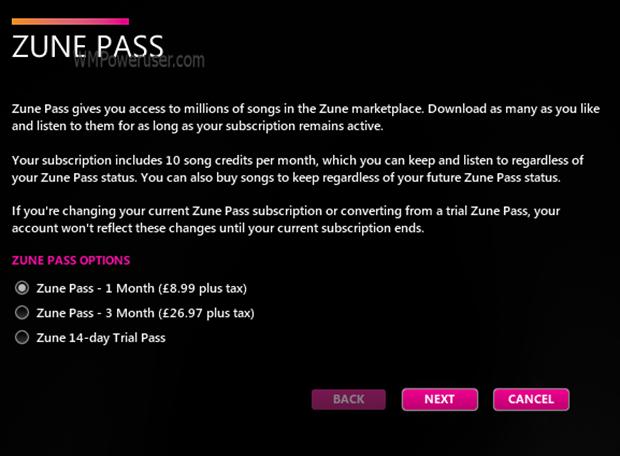 Zune Pass UK fees revealed
