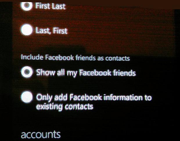 facebook integration a bit slicker in RTM Windows Phone 7