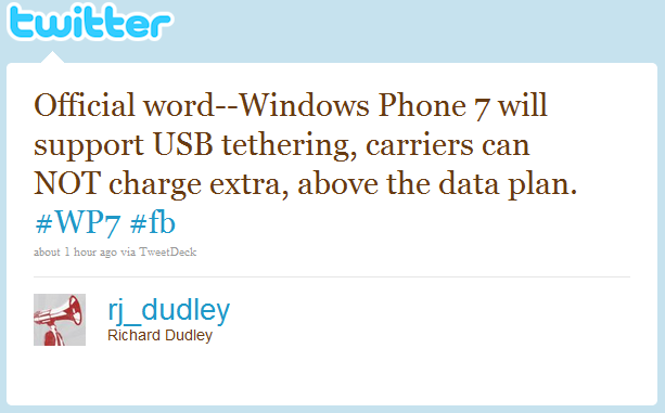 Will Windows phone 7 support USB tethering?