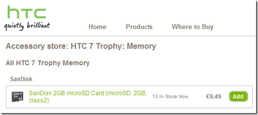 HTC selling memory cards for Windows Phone 7 handsets