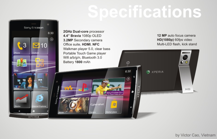 Concept Sony Ericsson Xperia WP7 Phone looks really cool as usual 11