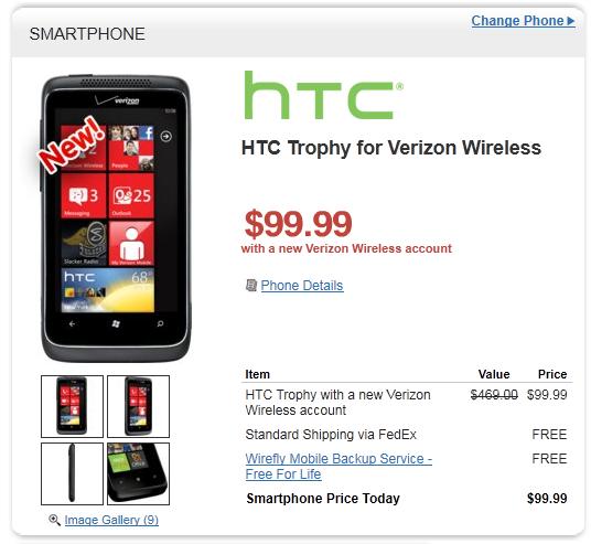 Verizon HTC Trophy Still Available on Wirefly 1