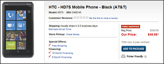 Get the AT&T HTC HD7S for $150 Off! 1