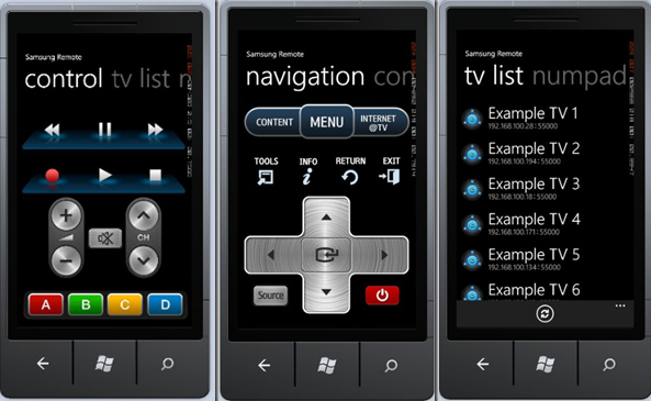 Samsung TV Remote Control For Windows Phones (homebrew