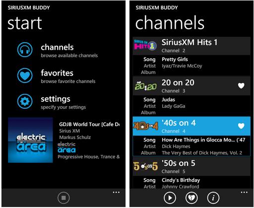 Sirius XM Buddy for Windows Phone 7 - app review 5