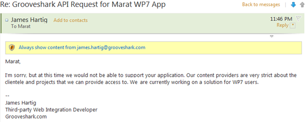 Official GrooveShark client for WP7 coming? 18