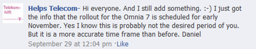 """T-Mobile Germany Samsung Omnia 7 Mango update only coming """"early November"""" 3"""