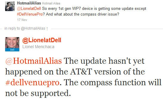Digital Compass never to be supported in the Dell Venue Pro 7