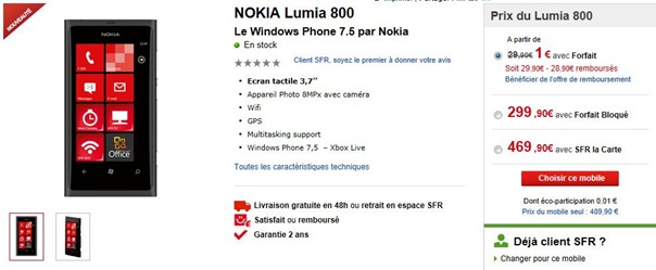 nokia lumia 800 SFR France