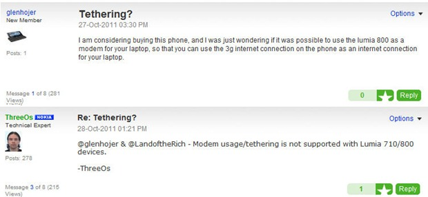 Disgruntled prospective Nokia Lumia 800 owners complain about lack of WIFI tethering 7
