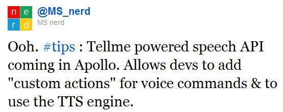 Rumour: Tellme API coming to Windows Phone devs with Apollo 5