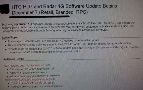 HTC HD7 getting update tomorrow, brings WIFI tethering 7