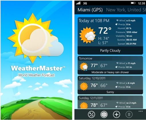 WeatherMaster Updated To v2.0 With Windows Phone Mango Goodness 9