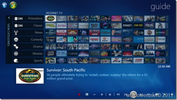 Windows Media Center Internet TV guide