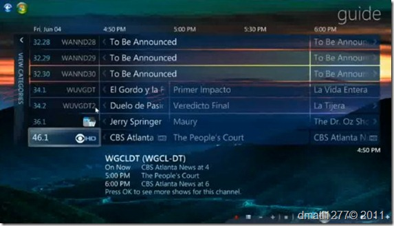 Windows Media Center Live TV guide
