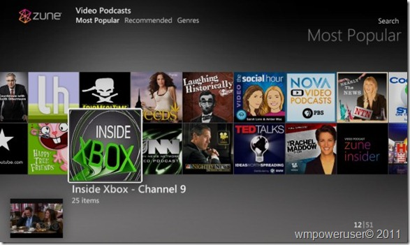 WMC Zune Video podcasts