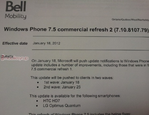Bell HTC HD7 and LG Quantum getting 8107 update starting tomorrow 5