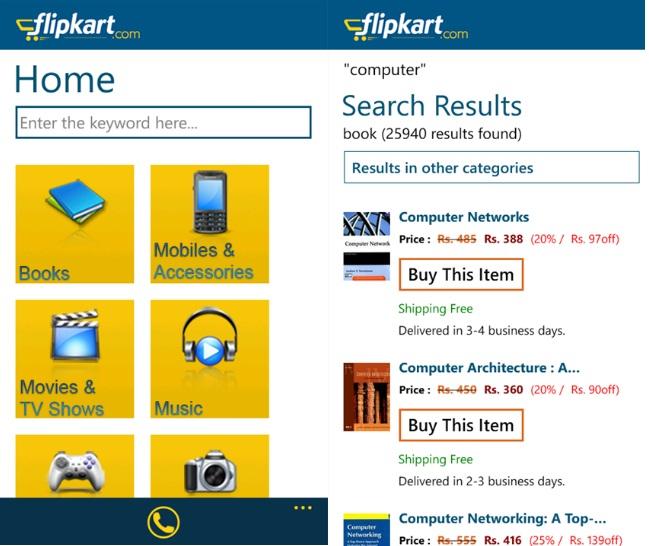 9c57939c1 Indian Online Retalier Flipkart App Lands In Windows Phone Marketplace