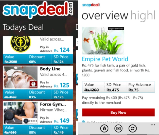 3266ae73e Snapdeal Mobile App Now Live In Windows Phone Marketplace