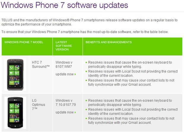 Telus announcing availability of 8107 update for HTC 7 Surround and LG Optimus 7 10