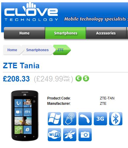 ZTE Tania now on pre-order from Clove UK 1