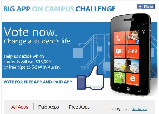 Vote in Microsoft's Big App on Campus Contest! - MSPoweruser