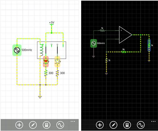iCircuit For Windows Phone, An Advanced Electronic Circuit Simulator