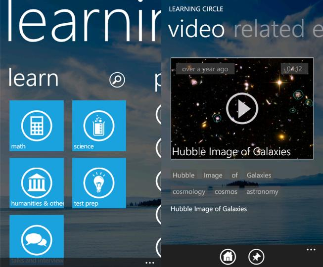 Learning Circle - A Khan Academy Client For Windows Phone 9