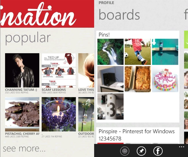 Pinsation - Another Good Pinterest Client For Windows Phone 11