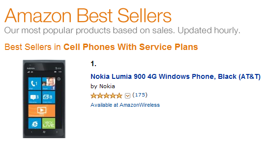 Nokia Lumia 900 spends a week on top of Amazon Best Seller