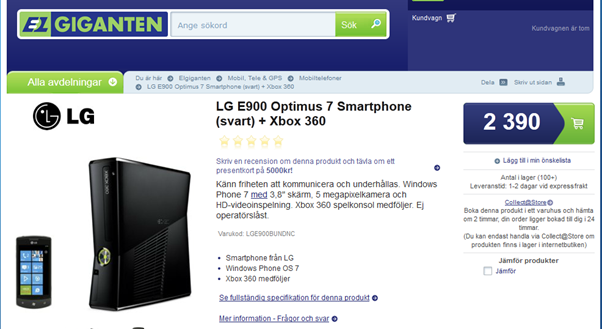 Great Deal: Get an Xbox 360 with an LG Optimus 7 for only 269 Euro in Sweden 7