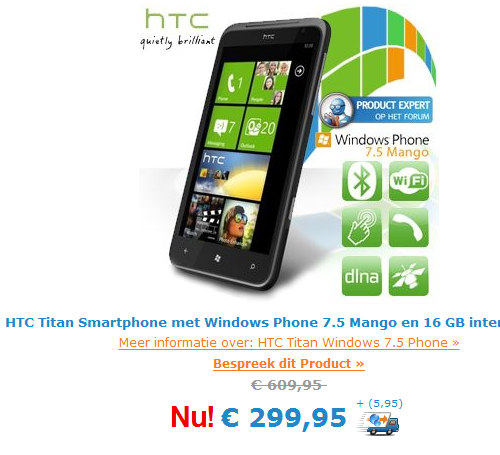HTC TiTan on sale for today only for 299 Euro 6