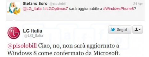 "LG Italy says no Windows Phone 8 upgrade for the LG Optimus 7: Update: LG apologizes for ""erroneous information"" 5"