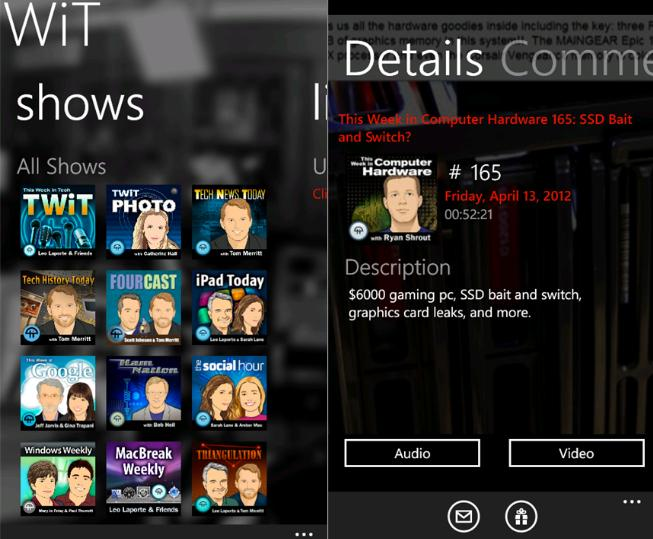 Enjoy TWiT.tv Networks Audio And Video Using TWiT for Windows Phone  3