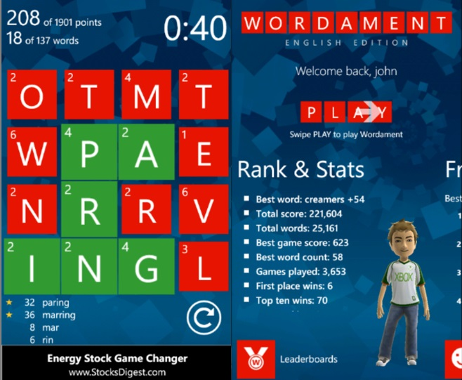 a screenshot of the windows 8 game wordament